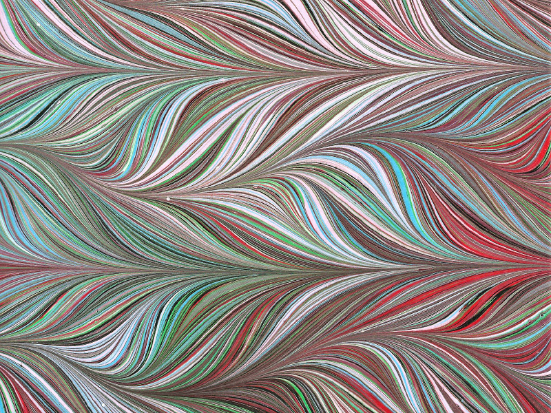 Venetian marbled paper - Feathered Chevron